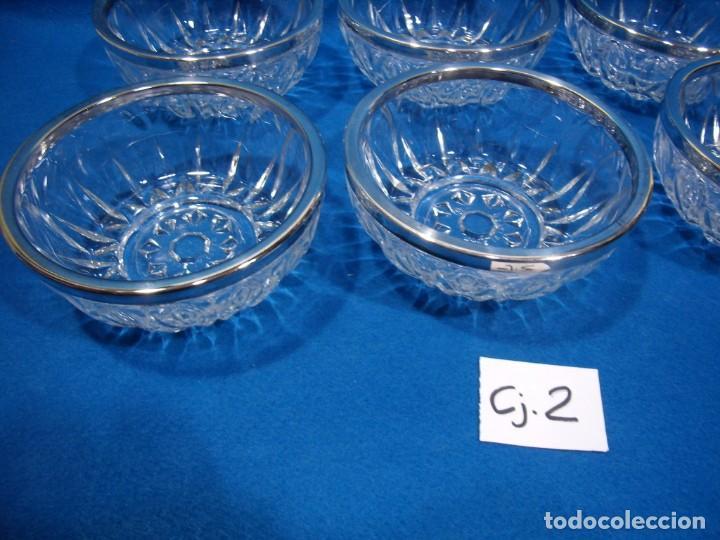 Antigüedades: Juego macedonia cristal 6 cuencos, decoración plateada fabricados en Italia, años 80,Nuevo sin usar - Foto 2 - 249551370