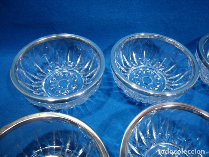 Antigüedades: Juego macedonia cristal 6 cuencos, decoración plateada fabricados en Italia, años 80,Nuevo sin usar - Foto 3 - 249551370
