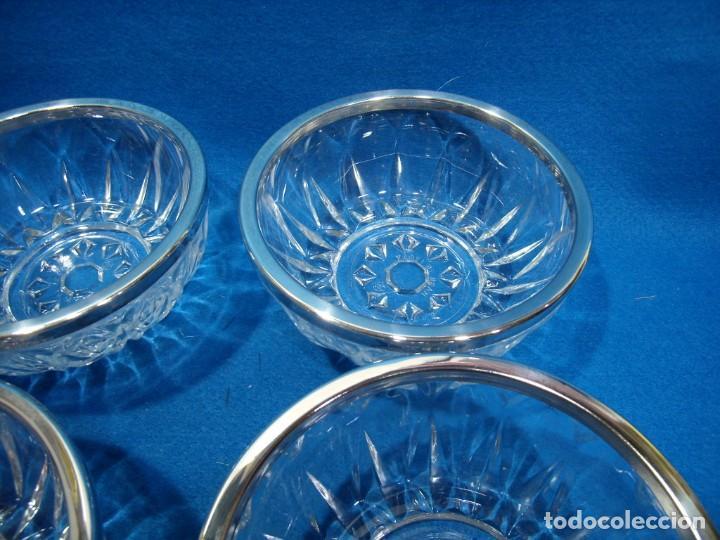 Antigüedades: Juego macedonia cristal 6 cuencos, decoración plateada fabricados en Italia, años 80,Nuevo sin usar - Foto 4 - 249551370