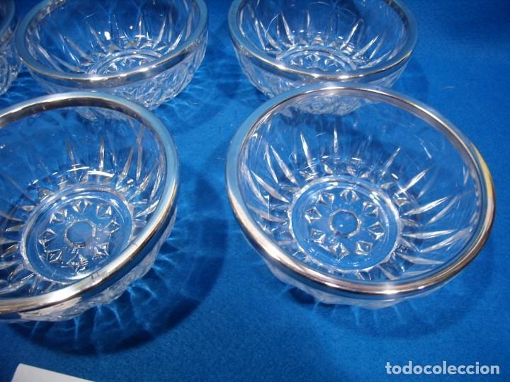 Antigüedades: Juego macedonia cristal 6 cuencos, decoración plateada fabricados en Italia, años 80,Nuevo sin usar - Foto 5 - 249551370