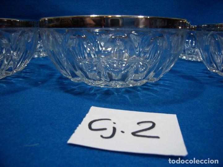 Antigüedades: Juego macedonia cristal 6 cuencos, decoración plateada fabricados en Italia, años 80,Nuevo sin usar - Foto 6 - 249551370