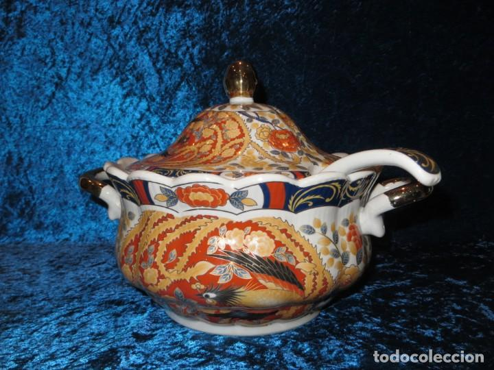 Antigüedades: Antigua sopera ensaladera porcelana China King Cheng oriental numerada sellada firma Ave Fénix oro - Foto 4 - 250148670