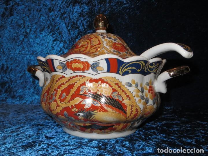 Antigüedades: Antigua sopera ensaladera porcelana China King Cheng oriental numerada sellada firma Ave Fénix oro - Foto 6 - 250148670