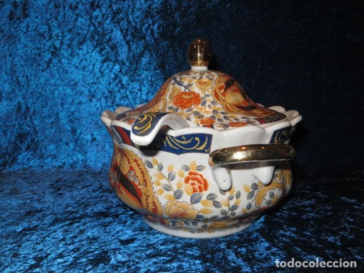 Antigüedades: Antigua sopera ensaladera porcelana China King Cheng oriental numerada sellada firma Ave Fénix oro - Foto 7 - 250148670
