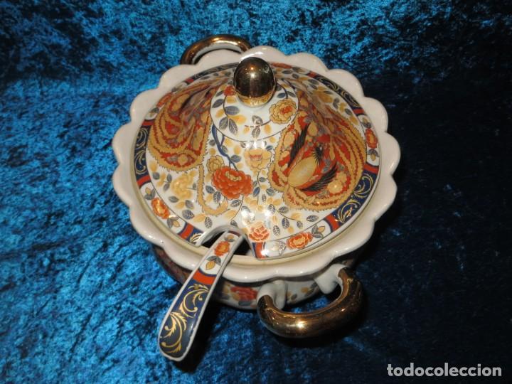 Antigüedades: Antigua sopera ensaladera porcelana China King Cheng oriental numerada sellada firma Ave Fénix oro - Foto 8 - 250148670