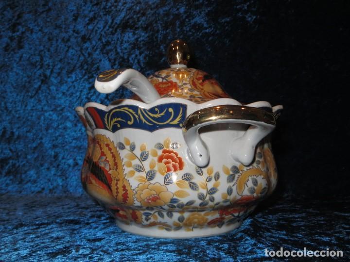 Antigüedades: Antigua sopera ensaladera porcelana China King Cheng oriental numerada sellada firma Ave Fénix oro - Foto 11 - 250148670