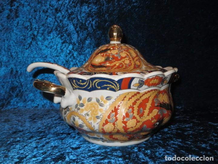 Antigüedades: Antigua sopera ensaladera porcelana China King Cheng oriental numerada sellada firma Ave Fénix oro - Foto 12 - 250148670