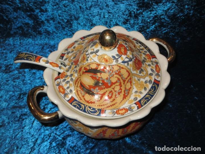 Antigüedades: Antigua sopera ensaladera porcelana China King Cheng oriental numerada sellada firma Ave Fénix oro - Foto 13 - 250148670