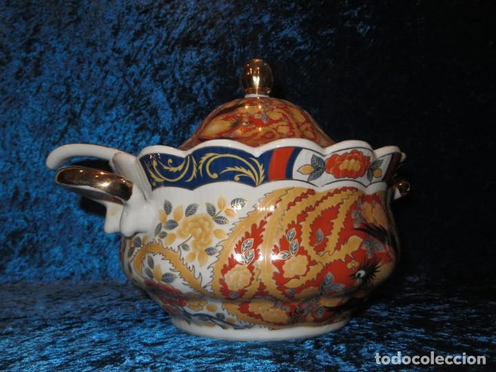 Antigüedades: Antigua sopera ensaladera porcelana China King Cheng oriental numerada sellada firma Ave Fénix oro - Foto 14 - 250148670