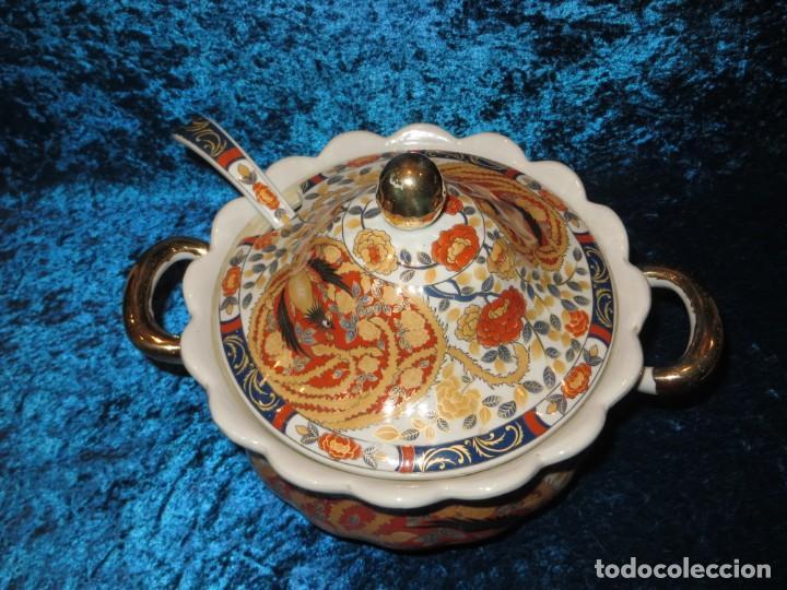 Antigüedades: Antigua sopera ensaladera porcelana China King Cheng oriental numerada sellada firma Ave Fénix oro - Foto 16 - 250148670