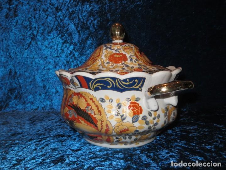 Antigüedades: Antigua sopera ensaladera porcelana China King Cheng oriental numerada sellada firma Ave Fénix oro - Foto 18 - 250148670