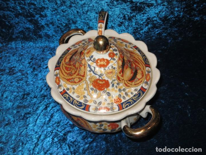 Antigüedades: Antigua sopera ensaladera porcelana China King Cheng oriental numerada sellada firma Ave Fénix oro - Foto 19 - 250148670