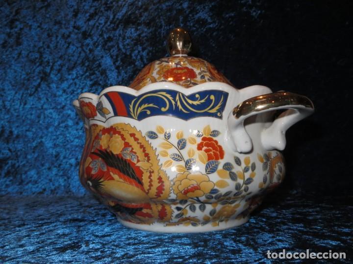 Antigüedades: Antigua sopera ensaladera porcelana China King Cheng oriental numerada sellada firma Ave Fénix oro - Foto 20 - 250148670