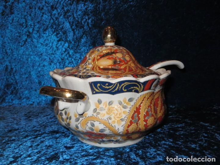 Antigüedades: Antigua sopera ensaladera porcelana China King Cheng oriental numerada sellada firma Ave Fénix oro - Foto 21 - 250148670