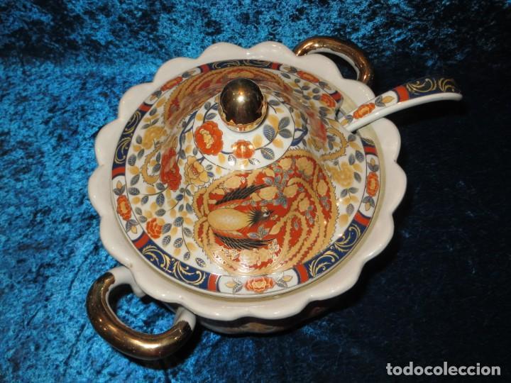 Antigüedades: Antigua sopera ensaladera porcelana China King Cheng oriental numerada sellada firma Ave Fénix oro - Foto 22 - 250148670