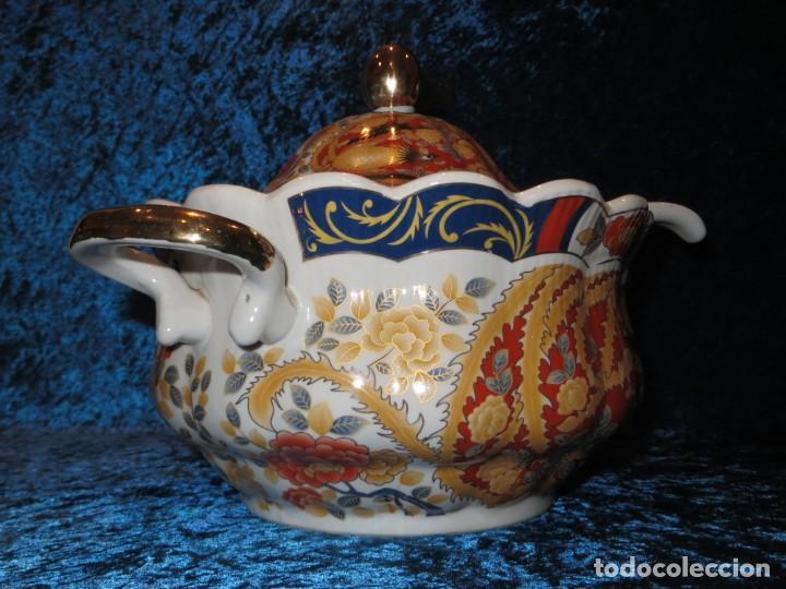 Antigüedades: Antigua sopera ensaladera porcelana China King Cheng oriental numerada sellada firma Ave Fénix oro - Foto 23 - 250148670