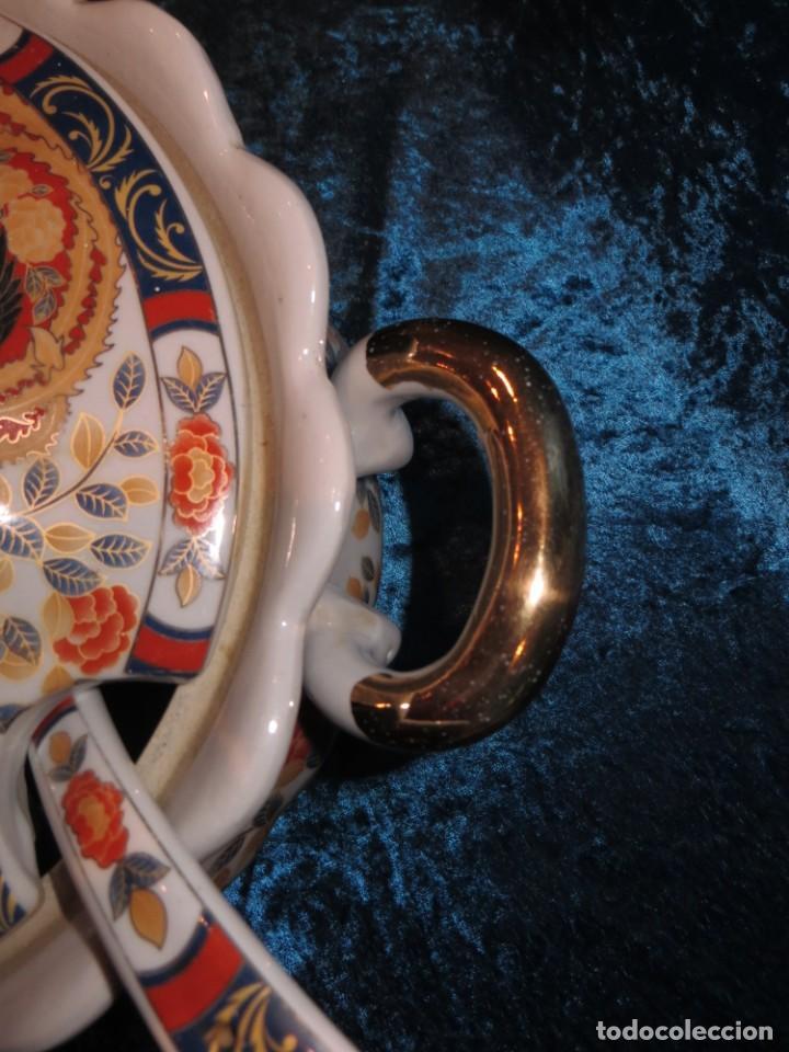 Antigüedades: Antigua sopera ensaladera porcelana China King Cheng oriental numerada sellada firma Ave Fénix oro - Foto 25 - 250148670