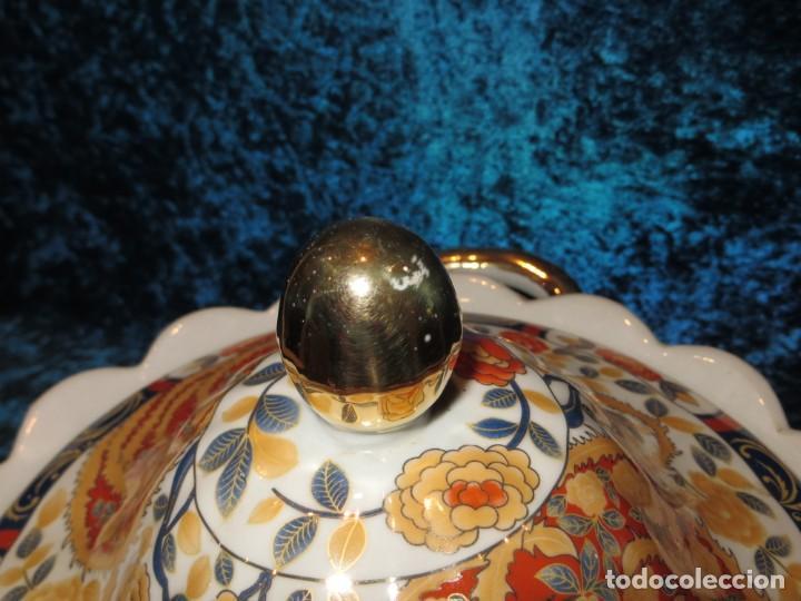 Antigüedades: Antigua sopera ensaladera porcelana China King Cheng oriental numerada sellada firma Ave Fénix oro - Foto 26 - 250148670