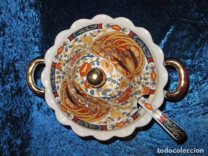 Antigüedades: Antigua sopera ensaladera porcelana China King Cheng oriental numerada sellada firma Ave Fénix oro - Foto 27 - 250148670