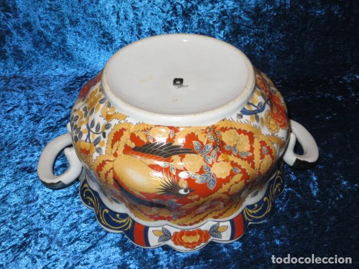 Antigüedades: Antigua sopera ensaladera porcelana China King Cheng oriental numerada sellada firma Ave Fénix oro - Foto 30 - 250148670