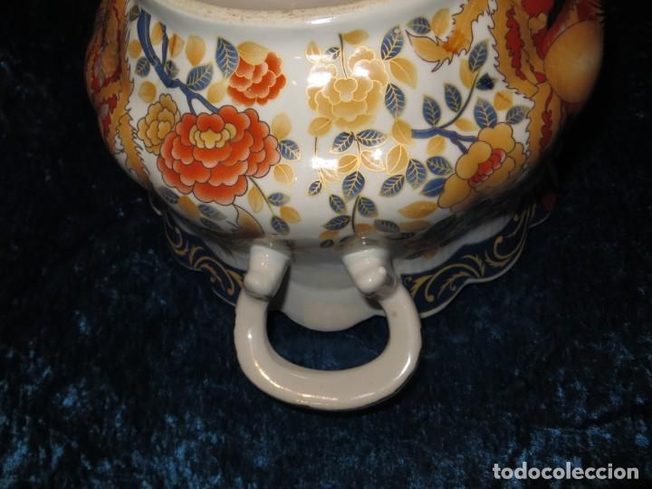 Antigüedades: Antigua sopera ensaladera porcelana China King Cheng oriental numerada sellada firma Ave Fénix oro - Foto 31 - 250148670