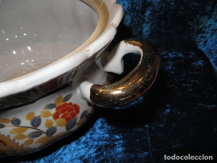 Antigüedades: Antigua sopera ensaladera porcelana China King Cheng oriental numerada sellada firma Ave Fénix oro - Foto 35 - 250148670
