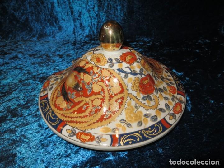 Antigüedades: Antigua sopera ensaladera porcelana China King Cheng oriental numerada sellada firma Ave Fénix oro - Foto 38 - 250148670