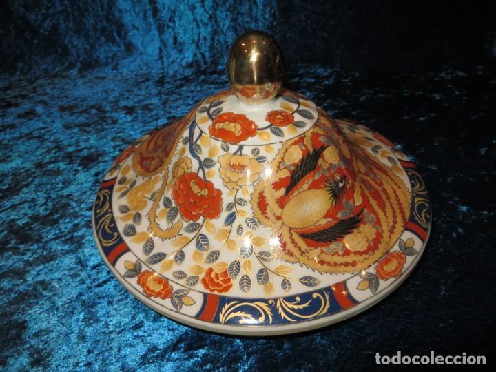 Antigüedades: Antigua sopera ensaladera porcelana China King Cheng oriental numerada sellada firma Ave Fénix oro - Foto 39 - 250148670