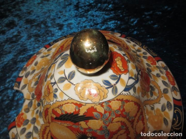 Antigüedades: Antigua sopera ensaladera porcelana China King Cheng oriental numerada sellada firma Ave Fénix oro - Foto 42 - 250148670