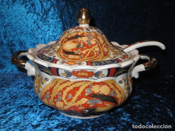 Antigüedades: Antigua sopera ensaladera porcelana China King Cheng oriental numerada sellada firma Ave Fénix oro - Foto 52 - 250148670