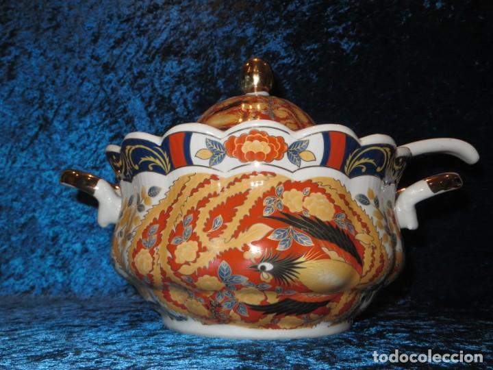 Antigüedades: Antigua sopera ensaladera porcelana China King Cheng oriental numerada sellada firma Ave Fénix oro - Foto 53 - 250148670