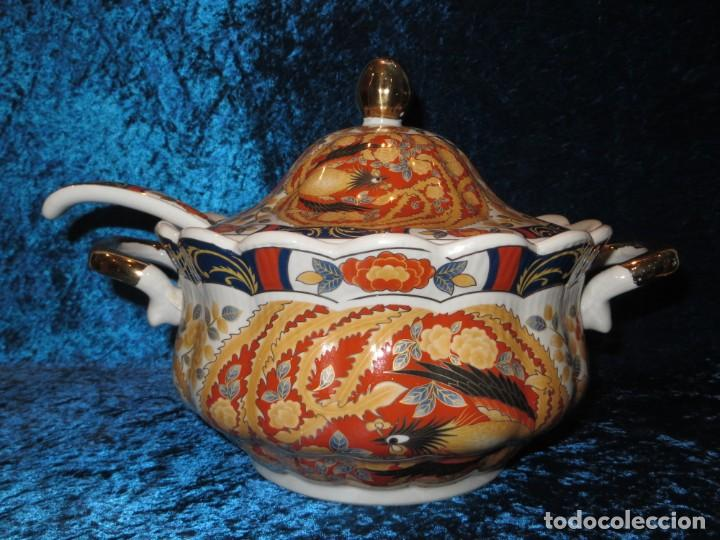Antigüedades: Antigua sopera ensaladera porcelana China King Cheng oriental numerada sellada firma Ave Fénix oro - Foto 54 - 250148670