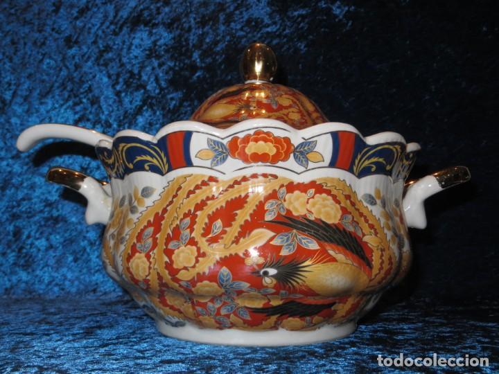 Antigüedades: Antigua sopera ensaladera porcelana China King Cheng oriental numerada sellada firma Ave Fénix oro - Foto 55 - 250148670