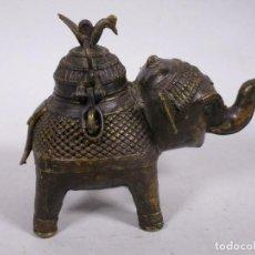 Antigüedades: ANTIGUO RARO INCENSARIO ASIA Z00MORFO BRONCE ELEFANTE SIGLO XVIII 20 X16 CM. Lote 250156470
