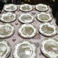 Antigüedades: 12 PLATOS DE PORCELANA JOHSON BROS. Lote 250171490
