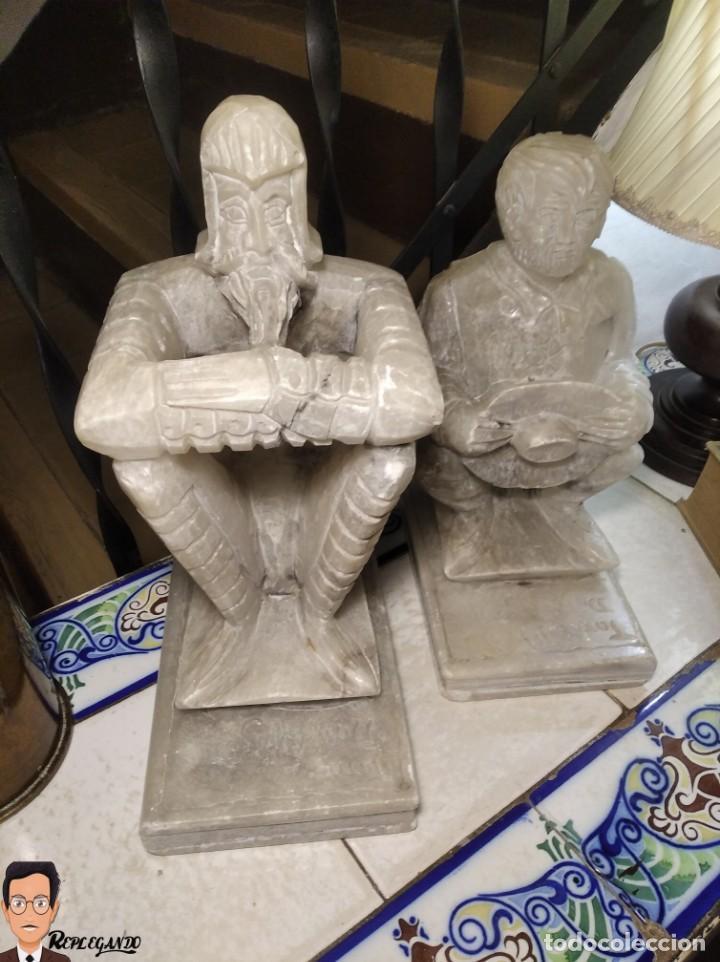 Antigüedades: ESCULTURAS DE DON QUIJOTE DE LA MANCHA Y SANCHO PANZA EN ALABASTRO (GRAN TAMAÑO) AÑOS 70 - Foto 35 - 250245865