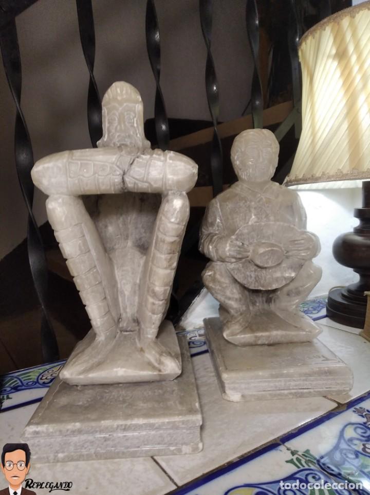 Antigüedades: ESCULTURAS DE DON QUIJOTE DE LA MANCHA Y SANCHO PANZA EN ALABASTRO (GRAN TAMAÑO) AÑOS 70 - Foto 3 - 250245865