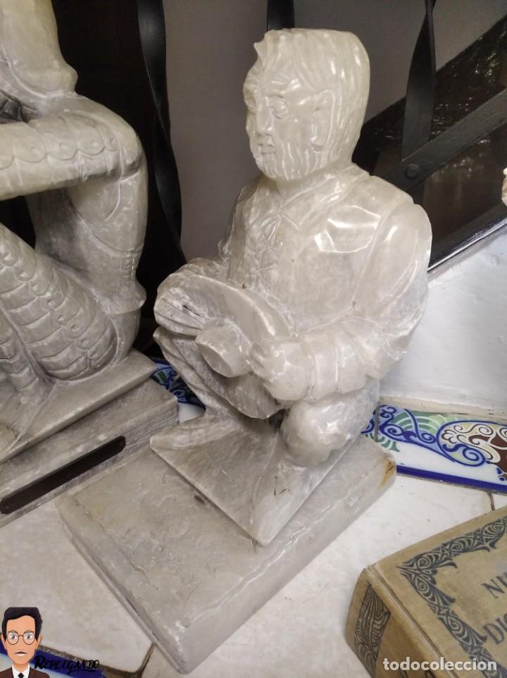 Antigüedades: ESCULTURAS DE DON QUIJOTE DE LA MANCHA Y SANCHO PANZA EN ALABASTRO (GRAN TAMAÑO) AÑOS 70 - Foto 6 - 250245865
