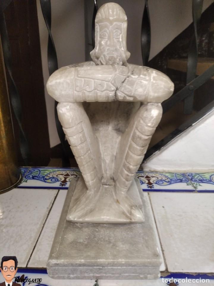 Antigüedades: ESCULTURAS DE DON QUIJOTE DE LA MANCHA Y SANCHO PANZA EN ALABASTRO (GRAN TAMAÑO) AÑOS 70 - Foto 12 - 250245865