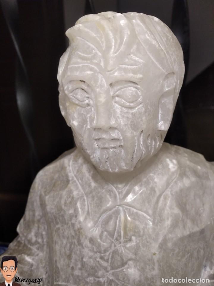 Antigüedades: ESCULTURAS DE DON QUIJOTE DE LA MANCHA Y SANCHO PANZA EN ALABASTRO (GRAN TAMAÑO) AÑOS 70 - Foto 16 - 250245865