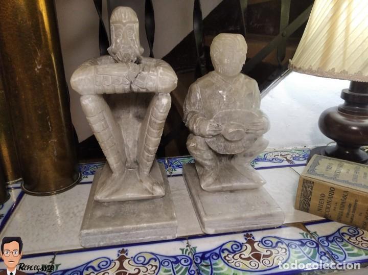 Antigüedades: ESCULTURAS DE DON QUIJOTE DE LA MANCHA Y SANCHO PANZA EN ALABASTRO (GRAN TAMAÑO) AÑOS 70 - Foto 25 - 250245865