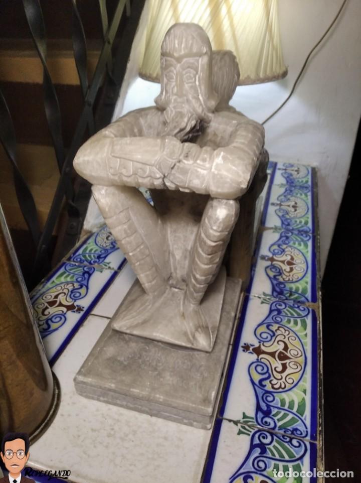 ESCULTURAS DE DON QUIJOTE DE LA MANCHA Y SANCHO PANZA EN ALABASTRO (GRAN TAMAÑO) AÑOS 70 (Antigüedades - Hogar y Decoración - Figuras Antiguas)