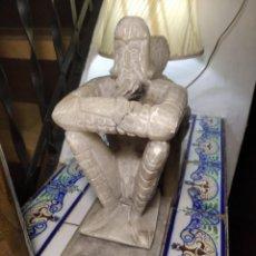 Antigüedades: ESCULTURAS DE DON QUIJOTE DE LA MANCHA Y SANCHO PANZA EN ALABASTRO (GRAN TAMAÑO) AÑOS 70. Lote 250245865