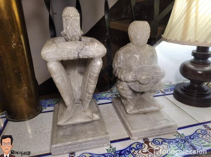 Antigüedades: ESCULTURAS DE DON QUIJOTE DE LA MANCHA Y SANCHO PANZA EN ALABASTRO (GRAN TAMAÑO) AÑOS 70 - Foto 32 - 250245865