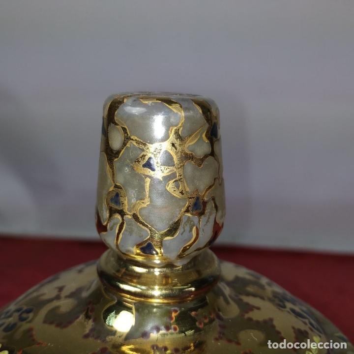 Antigüedades: COPA CON TAPA. MARCAS GORDIOLA MALLORCA. CRISTAL SOPLADO, ESMALTADO Y DORADO. ESPAÑA. CIRCA1950 - Foto 8 - 250314440