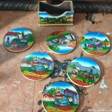 Antigüedades: 6 PORTA VASOS DE CRISTAL PINTADO PERUANOS. Lote 251010870
