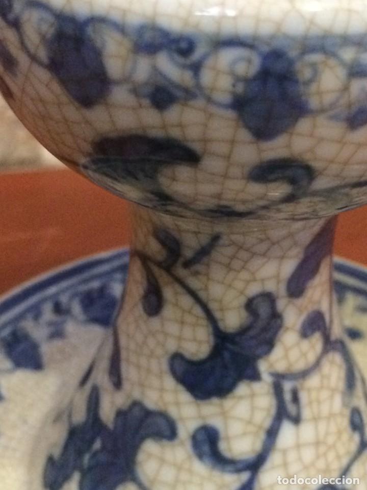 PALMATORIA PORTAVELAS CERÁMICA CRAQUELADA EXCELENTE ESTADO (Antigüedades - Porcelanas y Cerámicas - Manises)