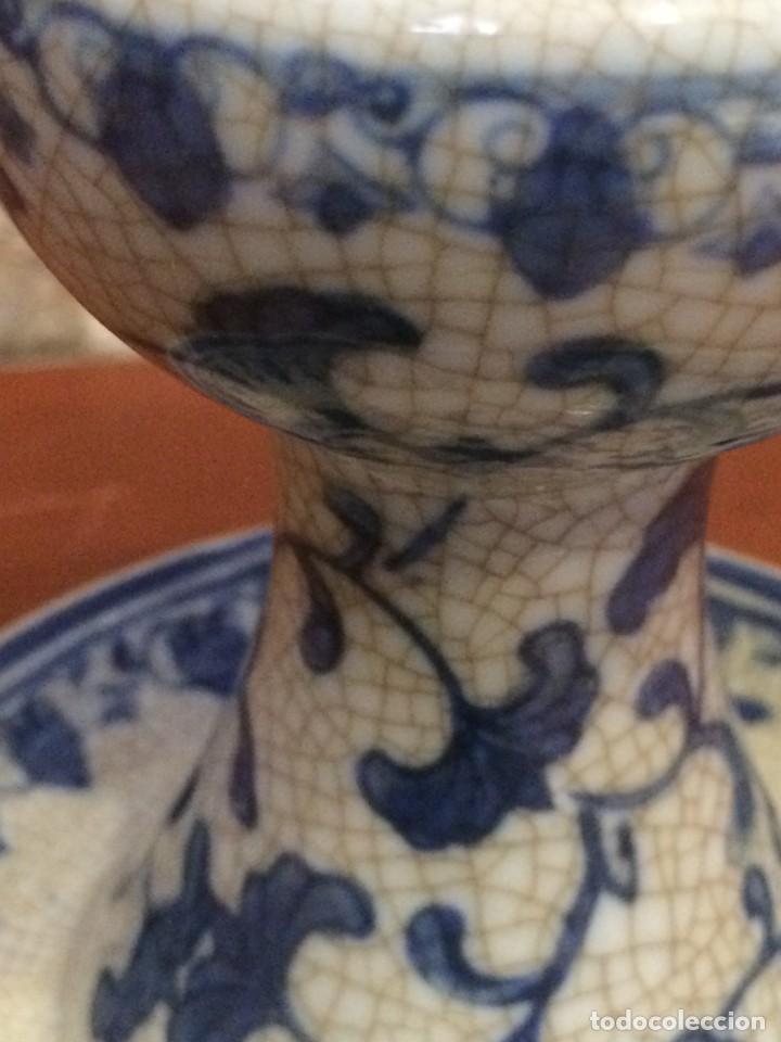 Antigüedades: Palmatoria portavelas cerámica craquelada Excelente estado - Foto 2 - 251022455