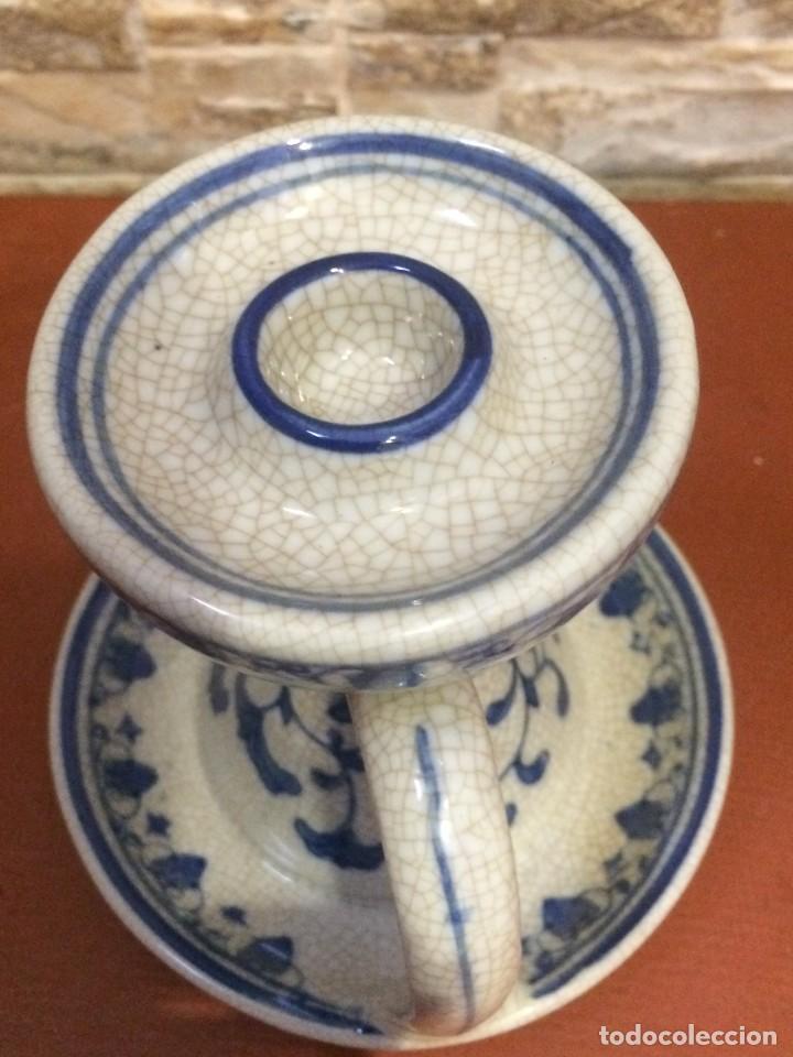 Antigüedades: Palmatoria portavelas cerámica craquelada Excelente estado - Foto 3 - 251022455