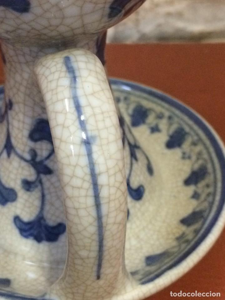 Antigüedades: Palmatoria portavelas cerámica craquelada Excelente estado - Foto 4 - 251022455